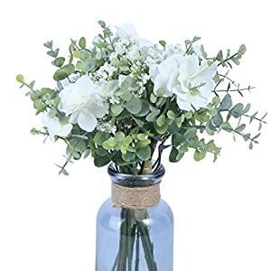 Anna Homey Decor Pack of 3 Bundles White Hydrangea/Gypsophila Artificial Flowers Real Touch Baby's Breath Flower with Eucalyptus Leaves Decorative Bridal Bouquet for Wedding Table Party Decor