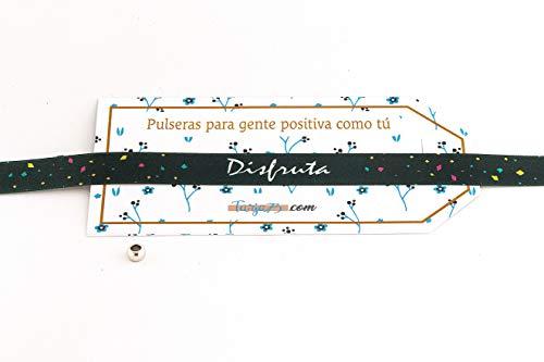 Tarja 73 | Pulseras de Tela con frases molonas: DISFRUTA | Regalo Original | Ideal Para Bodas, Aniversarios, Fiestas