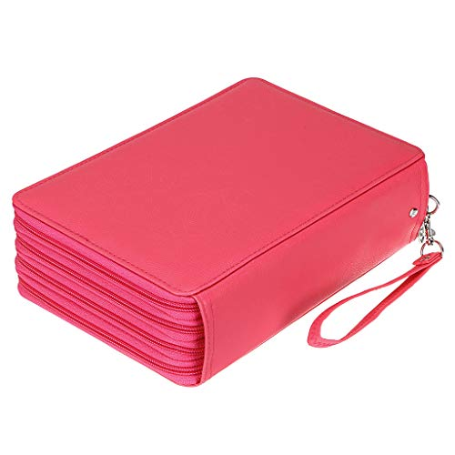 BTSKY 200 Slots Colored Pencil Organizer - Deluxe PU Leather Pencil Case Holder With Removal Handle Strap Pencil Box Large for Colored Pencils Watercolor Pencils (Pink)