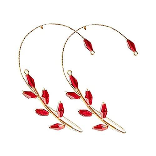 LIUU 1 Pair Vintage Ear Cuff Earrings,Women Fashion Beading Ear Hook Earrings Ear Wrap Pearl Flower Ear Clips Crawler Hook Earrings Non Piercing Jewelry for Women Girls (Red)