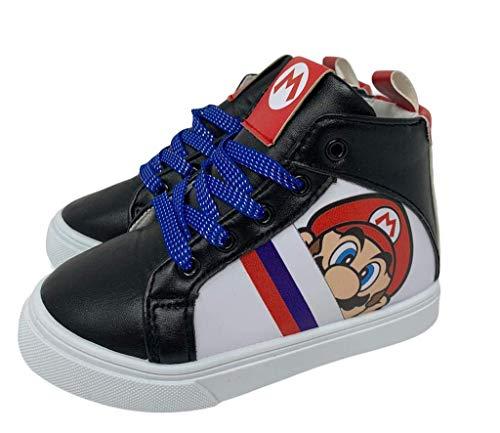 Super Mario Brothers Mario Luigi Kids Shoes Nintendo High Top Sneakers (Numeric_13) Black