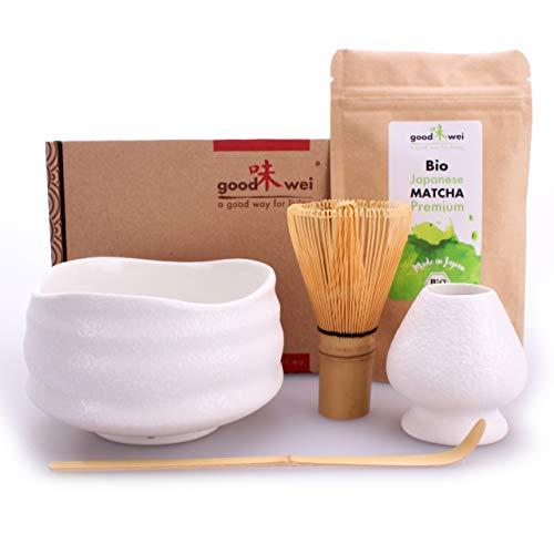 Teezeremonie-Set mit hochwertiger Matcha-Schale und echtem Bio Matcha aus Japan (Miyuki)