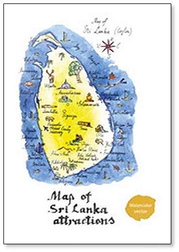 Kaart van Sri Lanka Attracties Koelkast Magneet