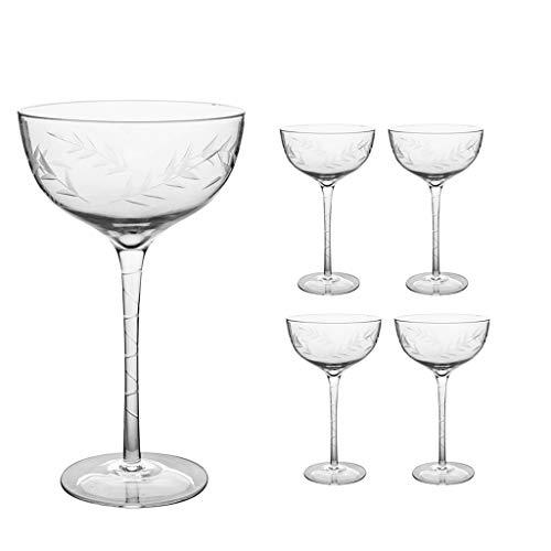 Set van Deluxe Brillen H19 x D12cm Leaf Etched Champagne Saucers