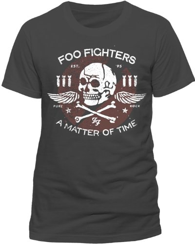 Unknown FOO FIGHTERS - MATTER OF TIME-T-shirt Uomo, Grigio (Charcoal), XL