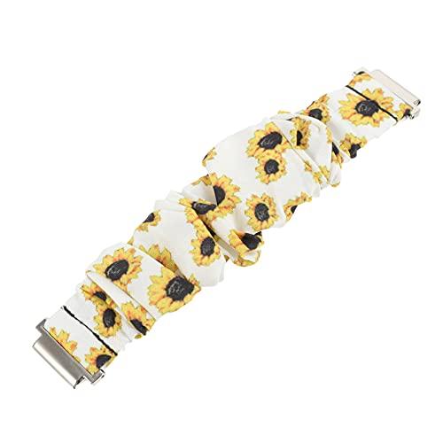 ibasenice Banda de Reloj Scrunchie Girasol Pulsera Elástica Pulseras de Repuesto Reloj Accesorios Compatibles con Galaxy Watch Active 20Mm Amarillo