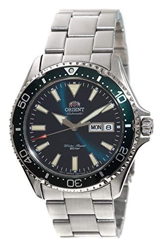 ORIENT Herren-Armbanduhr zum Tauchen und Sport, automatisch, 200 m, mit grünem Zifferblatt, Stahlarmband, RA-AA0004E