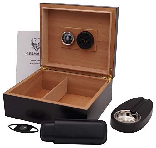 GERMANUS Zigarren Humidor Set mit Cutter, Zigarrenetui und Ascher