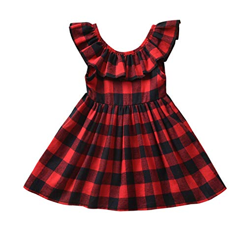 Fioukiay Toddler-Girls-Buffalo -Plaid- Dresses Baby Infant Princess Mini A-line Vintage Overall Dress Clothes (Black-Red Plaid, 2-3T)