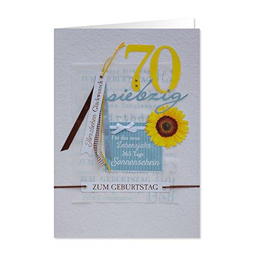 """GRUSS & CO 90223 XL handmade Grußkarte, Geburtstag, \""""70 - Für das neue Lebensjahr 365 Tage Sonnenschein\"""", 42 cm x 30 cm, mit Kuvert"""
