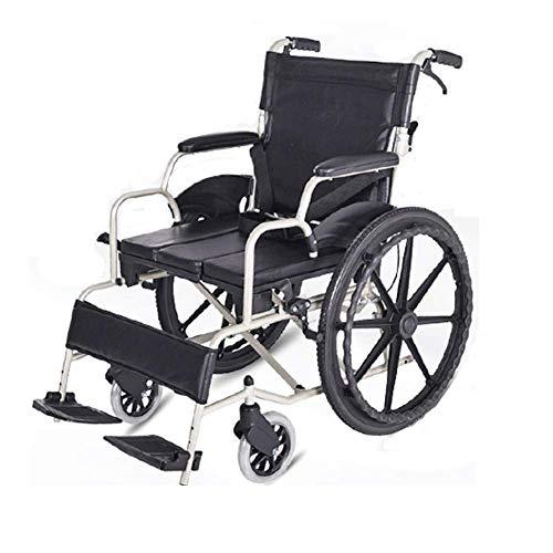 YIQIFEI Silla de Ruedas Plegable de Aluminio Ultraligero con Frenos auxiliares, Respaldo Plegable, ayudas para la Movilidad, Asistente (Silla)