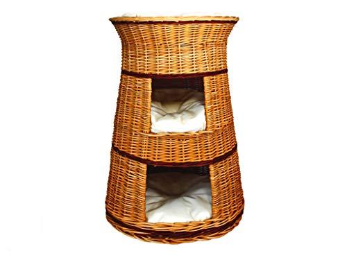 Damian-Wiklina - Cesto per cani e gatti, in vimini, a tre livelli, colore vimini naturale, cuscini beige