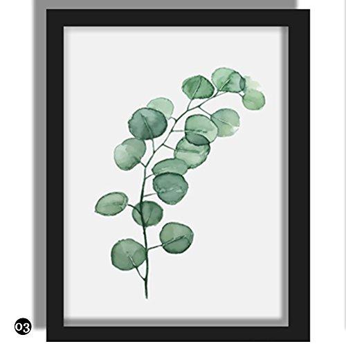 RUNGAO Wandbild Blätter Pflanzen Poster Kunstdruck, Leinwand Dekoration für Zuhause,13 * 18cm, 03