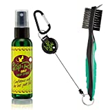 Golf Club Brush and Groove Cleaner | 2 Ft Retractable Zip Line | Sturdy Carabiner Clip Attaches to Golf Bag| Plus Grip & Rip Golf Gripping Spray | Better Grip in All Weather Conditions | Rosin (Green)