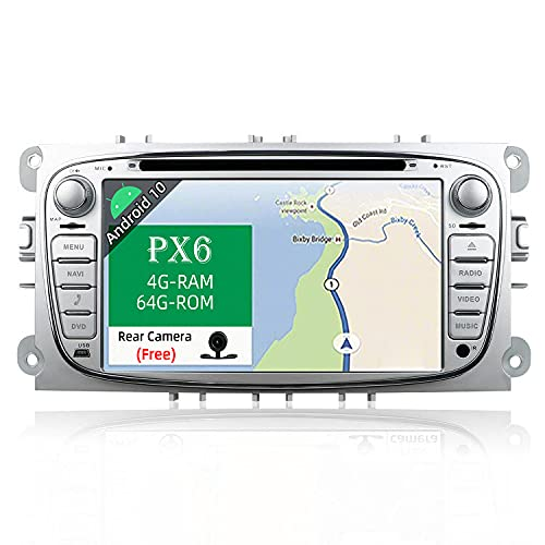 JOYX PX6 Autoradio Android 10 Compatibile Ford Focus/Mondeo/S-Max/Galaxy/C-MAX - Gratuita Camera Canbus - [4G/64G] - Supporto 4G WiFi DAB Bluetooth5.0 Volante CarPlay HDMI 4K-Video Mirrorlink - 2 Din