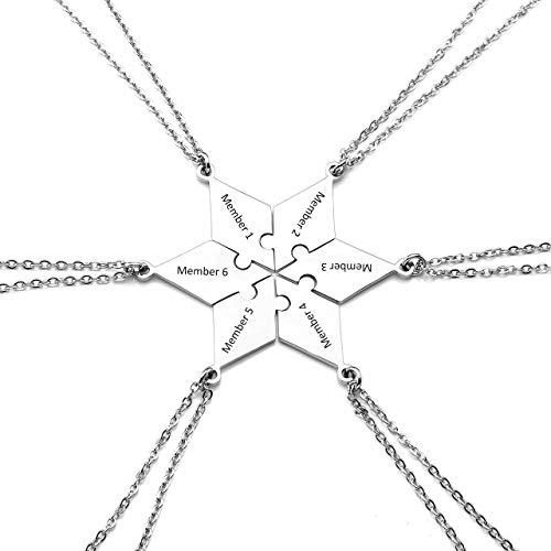 Jovivi Personalisierte Puzzle Anhänger mit Gratis Gravur Hexagramm Stern Pendant Schwester Familie Freundschafts Ketten