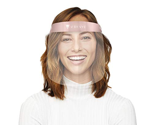 V by Vye | Fashion Safety Face Shields - PINK | 1 Pack Lightweight Transparent Face Shield with Adjustable Elastic Band | For Men and Women