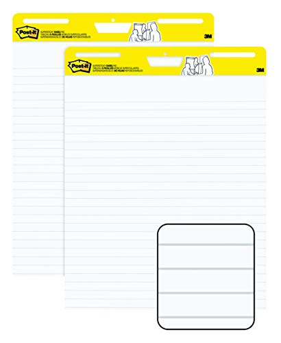 Post-it Super Sticky Easel Pad, Great for Virtual Teachers and Students, 25 x 30 Inches, 30 Sheets/Pad, 2 Pads, Lined Premium Self Stick Flip Chart Paper, Teacher Anchor Chart (561WL) (561WL VAD 2PK)