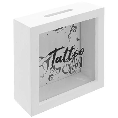 MIK Funshopping Spardose Tattoo Cash aus Holz mit Sichtfenster - Spare Geld für Deine Tätowierungen (Weißes Gehäuse mit Retro-Motiven schwarz)