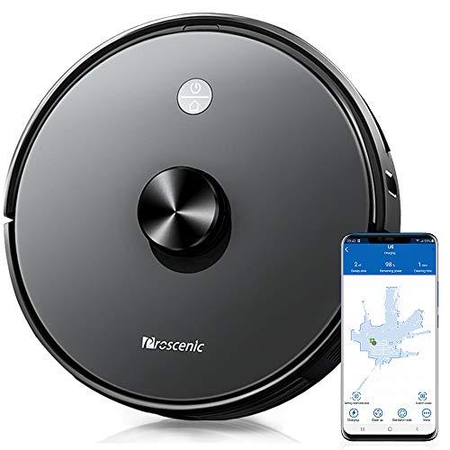 Proscenic U6, Robot Aspirapolvere con Tecnologia Navigazione Laser LDS, Robotino App & Alexa, Serbatoio dell'Acqua Elettronica per Pulizia Domestica Peli Animali Capelli Polvere Lavapavimenti, Nero