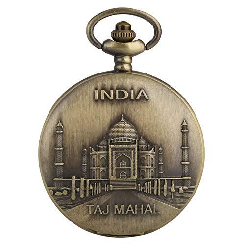 ZHAOXIANGXIANG Reloj De Bolsillo Retro,India Taj Mahal Display Bronce Exquisito Reloj De Bolsillo Collar De Cuarzo Reloj Colgante con Cadena Artículo De Recuerdo