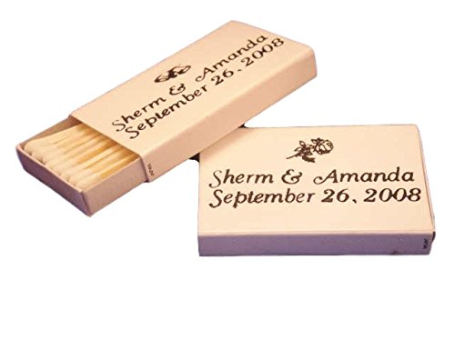 50 Personalized White Cover Wooden Match Boxes Matches - EMAIL OR Call in The Personalization Information