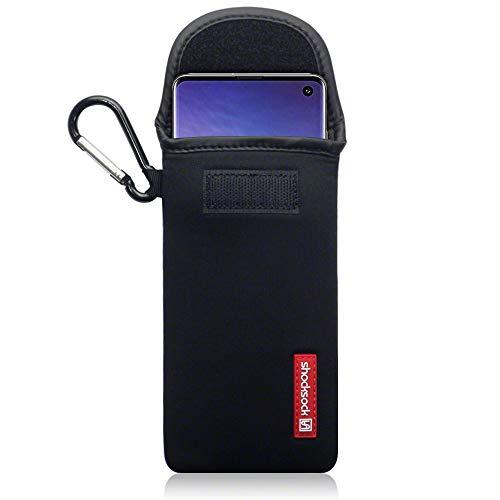 shocksock, Kompatibel mit Samsung Galaxy S10 Neopren Tasche mit Carabiner Hülle - Schwarz