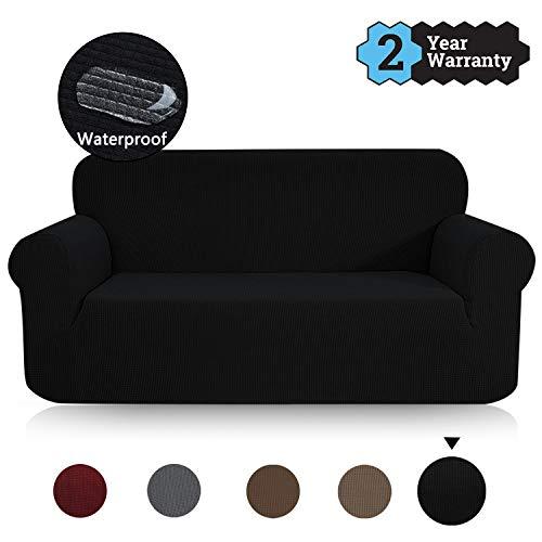 TOPOWN Sofaüberwurf, Jacquard Sofaüberzug, Couchbezug Wasserdicht, Sofahusse, Sofabezug für Sofa, Vier Farben (3 Sitzer, Schwarz)