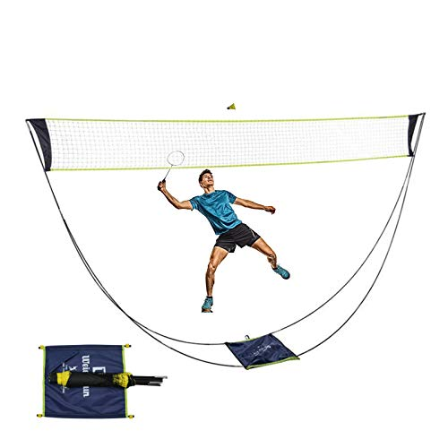CYTBP Portable Badminton Net with Stand Carry Bag, Lightweight and Compact Volleyball Tennis Badminton Net,Easy Setup for Outdoor/Indoor Court, Backyard, No Tools or Stakes Required