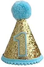 Finduat Baby Boy 1 Birthday Cone Hat, Baby Boy Birthday Tiara Adjustable Headbands for Baby Boy 1st Birthday Party Supplies