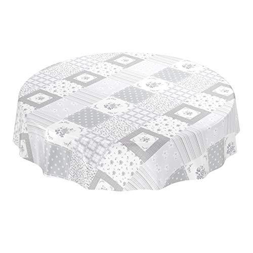ANRO tafelzeil tafelkleed wasdoek wastafelkleed afwasbaar grijs patchwork ruiten 120cm