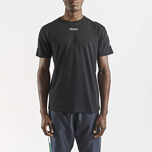 Kappa Klake Camiseta, Hombre, Negro/Blanco, M