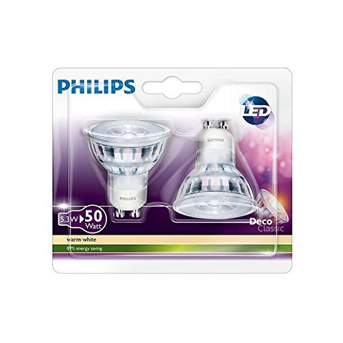 Philips Lot de 2 Ampoules LED Culot GU10, Équivalent 50 W, Blanc Chaud 2700K
