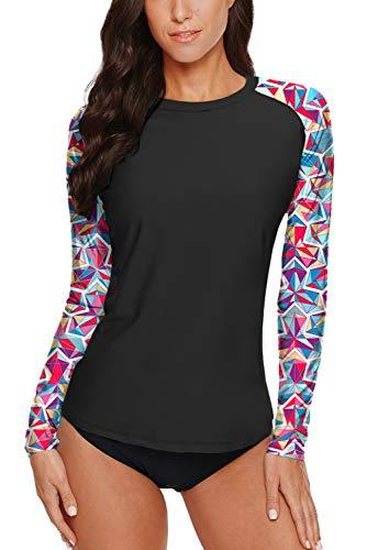 BesserBay Damen UV Tshirt Rash Guard Schwimmshirt UV Shirt Tankini Raglanärmel Lycra Shirt UV-Schutz 50+ Black