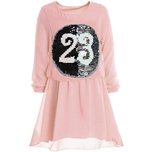 BEZLIT Mädchen Wende-Pailletten Frühlings Kleid Peticoat Fest Lang Arm Kostüm 21002 Rosa Größe...