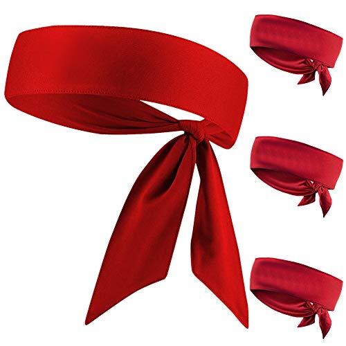 JHYWELL Head Tie, Red Karate Ninja Head Wraps Headband, Tie Up Sweatband Hair Band for Men Women Kids Girls Boys, Pirates Bandana Headwrap for Tennis, Workout (Red 4 Pack)
