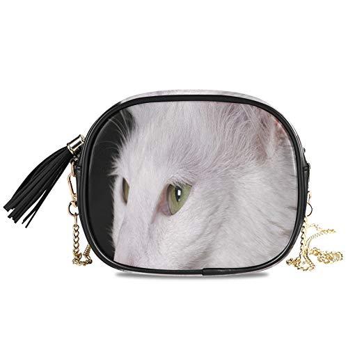 Gato angora gatito blanco pura sangre mascota encantadora mujer noche bandolera bolso formal fiesta señoras cadena bolso bandolera decoración para niñas bandolera para mujer 7.48x5.9x3.54 pulg