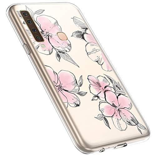 MoreChioce kompatibel mit Samsung Galaxy A9 2018 Hülle,Galaxy A9 2018 Handyhülle Blume,Ultra Dünn Transparent Silikon Schutzhülle Clear Crystal Rückschale Tasche Defender Bumper,Blumenzweig #28