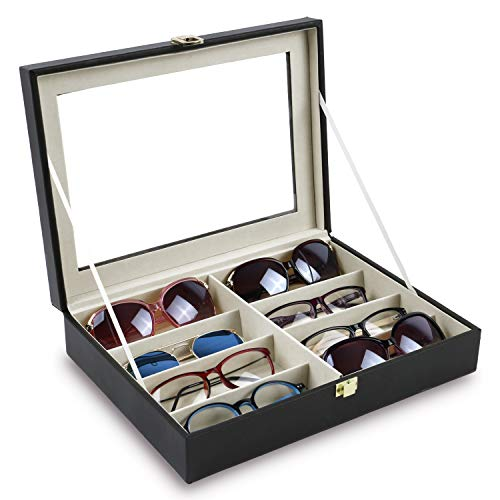 Mooca Black Leatherette Multi Sunglasses Case Organizer Sunglasses Holder Case with Clear View Top, Sunglasses Organizer Box, Eyeglasses Display Case with 8 Slots, 13