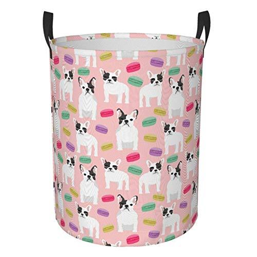 Grande cesto portabiancheria a tema macaron con bulldog francese, borsa pieghevole per lavanderia, impermeabile, portatile, con indumenti sporchi, per camera da letto, bagno, dormitorio