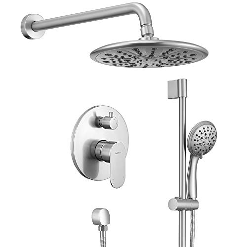 Shower System, Wall Mounted Slide Bar Shower Faucet Set for Bathroom with High Pressure 8