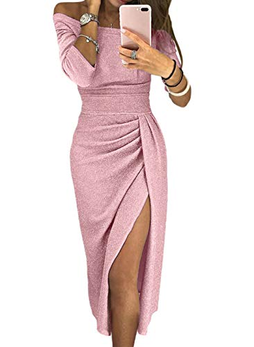 HUUSA Knitted Black Midi Dress for Womens 3/4 Sleeve Off Shoulder High Waist Slit Ruched Evening Party Wedding Dress Small (4-6) Pink