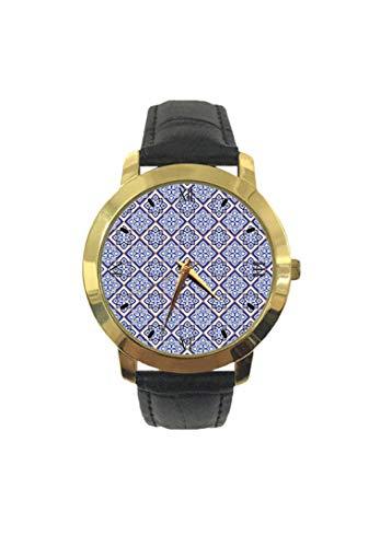 Vintage Marokkanische Fliesen Muster Mittlere Ostkultur Geometrische Mode Herren Armbanduhr Quarz Lederband Freizeit Uhr