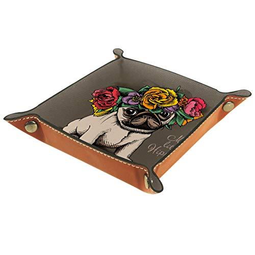 YATELI Caja de Almacenamiento pequeña, Bandeja de Valet para Hombre,Hippie Pug Cachorro Flor Floral Guirnalda Floral,Organizador de Cuero para Llaves de Caja de Monedas
