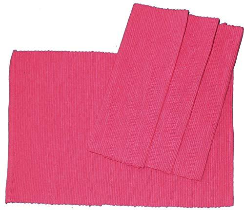 KH-Haushaltshandel 4er Pg. Tischset, Platzset, Platzdeckchen, Rippset, 33 x 48 cm, Baumwoll Mischgewebe (pink)