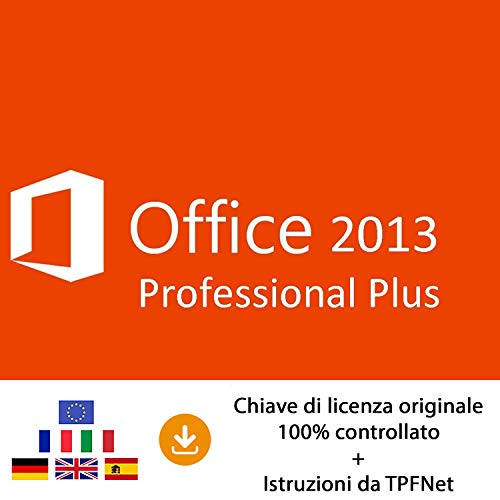 MS Office 2013 Professional Plus 32 bit e 64 bit - Chiave di Licenza Originale per Posta e E-Mail + Guida di TPFNet® - Spedizione max. 60min