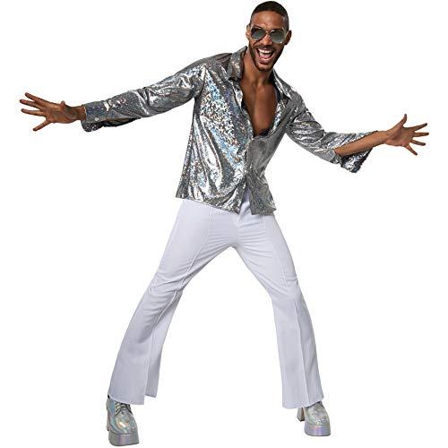 dressforfun 900382 - Herrenkostüm Disco Boy, Langarmhemd mit Kragen ist aus Reflektierendem Glanzstoff (XL | Nr. 302173)