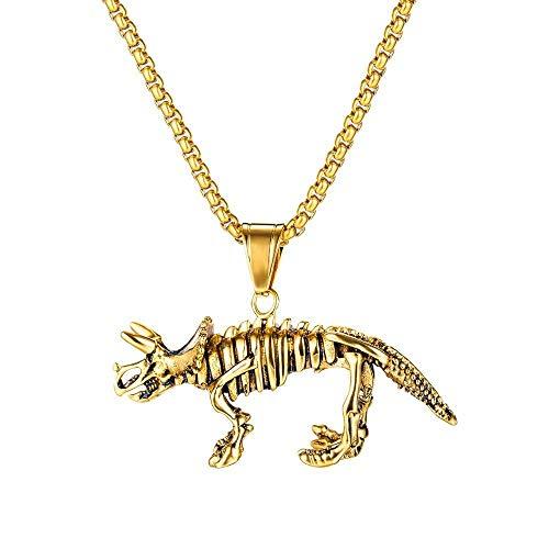 N / A Collar Gótico Collar con Colgante De Dinosaurio Vintage De Acero De Titanio, Collar De Esqueleto Animal para Hombre, Joyería Punk para Hombre con Personalidad-Oro