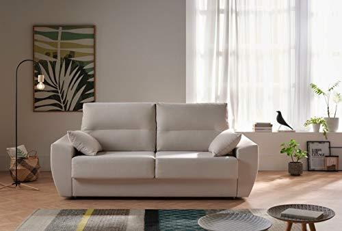 ECCOX - Sofá Cama Italiano Mónaco 3 Plazas 200x96cm Tela Antimanchas Gran Confort en Color Beige