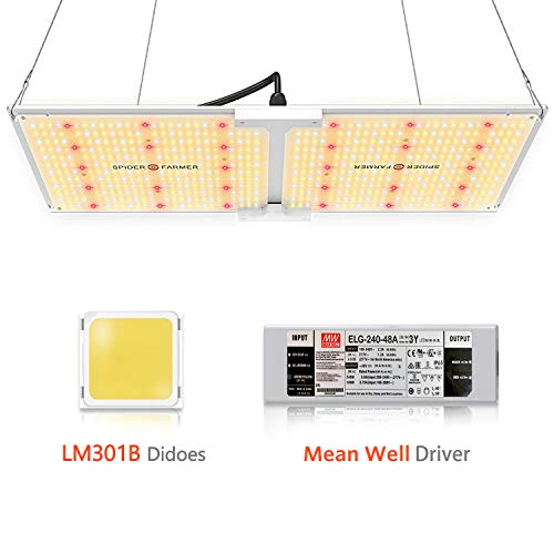 Spider Farmer SF-2000 LED Grow Light Compatible with SAMSUNG LM301B Diodes & Dimmable MeanWell Driver White Grow Lights for Indoor Plants Full Spectrum for Greenhouse Hydroponic Veg Flower 606pcs LEDs